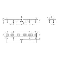Трап линейный Qtap Dry FF304-600MBLA с нержавеющей решеткой 600х73