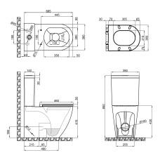 Унитаз-компакт Qtap Robin безободковый с сиденьем Soft-close QT13222141ARW