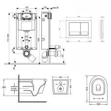 Набор Qtap инсталляция 3 в 1 Nest QT0133M425 с панелью смыва квадратной QT0111M06029SAT + унитаз с сиденьем Swan QT16335178W