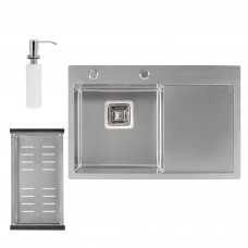 Набор 3 в 1 Qtap кухонная мойка DK6845L 3.0/1.2 мм Satin + сушилка + дозатор для моющего средства