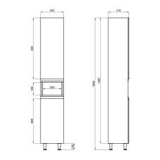 Пенал напольный Qtap Robin 350х1950х316 Graphite/Whitish oak QT1376PN1652RGWO