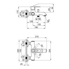 Смеситель для ванны Qtap Rozkos 3055104DC