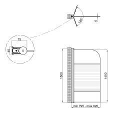 Штора на ванну Lidz Brama SS80x150L.CRM.L Linie