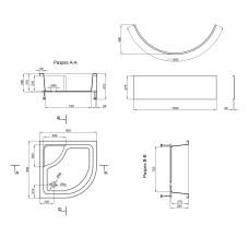 Душевой поддон Lidz Kupala ST90x90x41 с панелью TP90x90x38