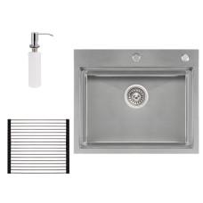 Набор 3 в 1 Qtap кухонная мойка DH6050 3.0/1.2 мм Satin + сушилка + дозатор для моющего средства