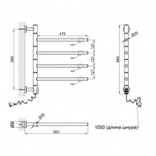 Полотенцесушитель электрический Qtap Glide 11108R CRM