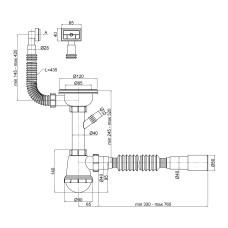 Сифон для кухонной мойки Lidz (WHI) 60 05 M002 01