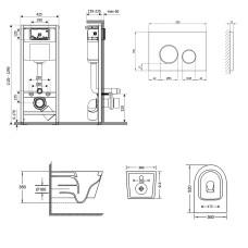 Набор Qtap инсталляция 3 в 1 Nest QT0133M425 с панелью смыва круглой QT0111M11112CRM + унитаз с сиденьем Jay QT07335176W
