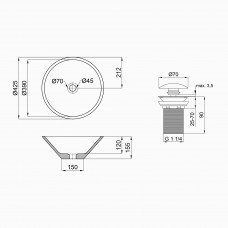 Умывальник Q-tap Amazon 42,5 см накладной с донным клапаном (WHI 4037/F008)