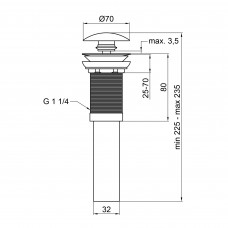Донный клапан для раковины Qtap PU03 MATT BLACK