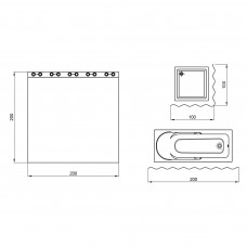 Шторка для ванной Qtap Tessoro PA80155 200х200