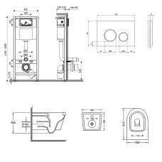 Набор Qtap инсталляция 3 в 1 Nest QT0133M425 с панелью смыва круглой QT0111M11112CRM + унитаз с сиденьем Swan QT16335178W