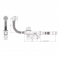 Сифон для ванны Lidz (WHI) 60 03 V002 02