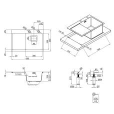 Набор 3 в 1 Qtap кухонная мойка DK6845R 3.0/1.2 мм Satin + сушилка + дозатор для моющего средства