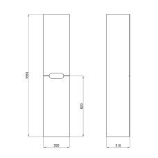 Пенал подвесной Qtap Virgo 350х1600х316 White/Whitish oak QT1876PP1651RWWO