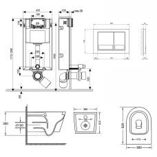 Набор Qtap инсталляция 3 в 1 Nest QT0133M425 с панелью смыва квадратной QT0111M06028CRM + унитаз с сиденьем Jay QT07335176W