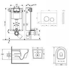 Набор Qtap инсталляция 3 в 1 Nest QT0133M425 с панелью смыва круглой QT0111M11111SAT + унитаз с сиденьем Swan QT16335178W