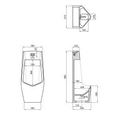Писсуар напольный Qtap Scorpio с ИК-датчиком автоматического смыва DC 420х350х960 White QT1488U960A01DCW