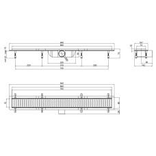 Трап линейный Qtap Dry FF304-800MBLA с нержавеющей решеткой 800х73