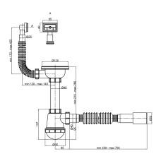 Сифон для кухонной мойки Lidz (WHI) 60 05 M001 01