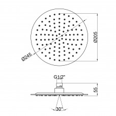 Лейка для верхнего душа Lidz (CRM) 51 10 103 25