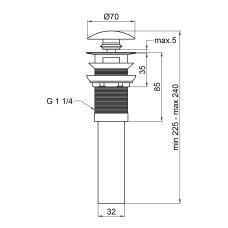 Донный клапан для раковины Qtap PU03O MATT BLACK с переливом