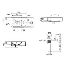 Раковина Qtap Tern с донным клапаном QT171110100RW