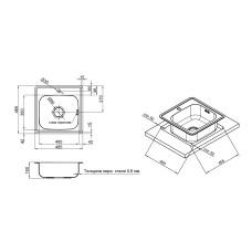 Кухонная мойка Lidz 4848 Micro Decor 0.6мм (LIDZ4848MDDEC06)