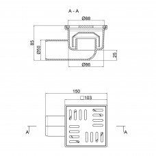 Трап Lidz (WHI) 60 07 T003 00 горизонтальный с пластиковой решеткой 100х100