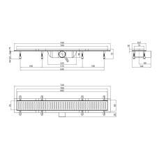 Трап линейный Qtap Dry FA304-700MBLA с нержавеющей решеткой 700х73