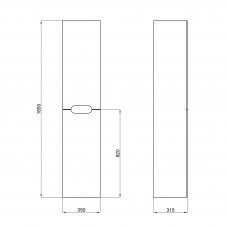 Пенал подвесной Qtap Virgo 350х1600х316 Black/White с корзиной для белья QT1876PP1652KRBW