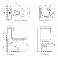 Унитаз-компакт Qtap Aquarius безободковый с сиденьем Soft-close QT2122C665PW