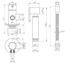 Набор для гигиенического душа со смесителем Qtap Inspai-Varius BCR V00440001