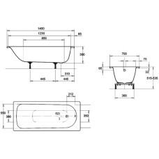 Ванна стальная Kaldewei Eurowa 140x70 mod 309