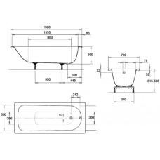 Ванна стальная Kaldewei Saniform Plus 3,5 мм 150x70 mod 361-1