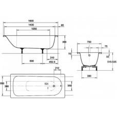 Ванна стальная Kaldewei Saniform Plus 3,5 мм 160x70 mod 362-1