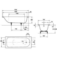 Ванна стальная Kaldewei Saniform Plus 3,5 мм 170x70 mod 363-1