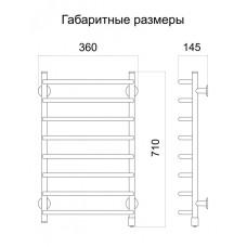 Полотенцесушитель электрический Тёплый мир Слим 710х365х145