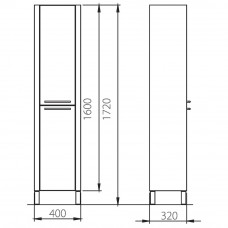 Пенал COLOMBO ЛОТОС белый глянец/венге F14111002