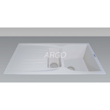 Мойка гранитная ARGO Medio Plus 980x500x230 Белая