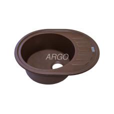 Мойка гранитная ARGO Ovale 620x500x200 Коричневая