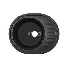Мойка гранитная ARGO Ovale 620x500x200 Чёрный металлик