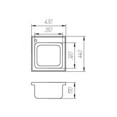 Мойка гранитная BORGIO SQ-440x430 Чёрная